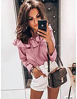 Блуза софт однотонна жіноча РОЖЕВА (ПОШТУЧНО), фото 1