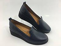 Турецкие ортопедические кожаные туфли на танкетке