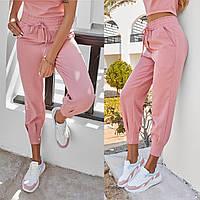 Модные женские брюки с завышенной талией пудровые (3 цвета) ЮР/-4353