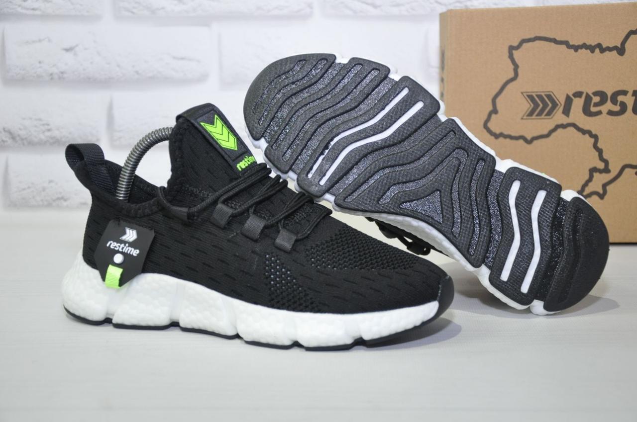 Легкі підліткові чорні кросівки для бігу, повсякденні сітка Restime унісекс