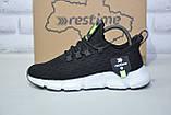 Легкі підліткові чорні кросівки для бігу, повсякденні сітка Restime унісекс, фото 5