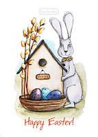 """Пасхальная открытка с зайцем """"Happy Easter"""""""