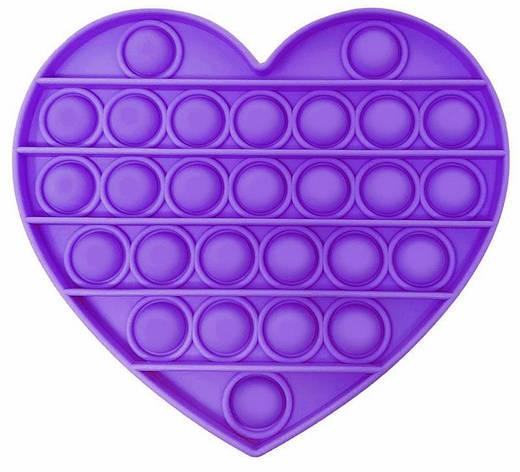 Pop It сенсорная игрушка, пупырка, поп ит антистресс, pop it fidget, попит, фиолетовое сердце, фото 2