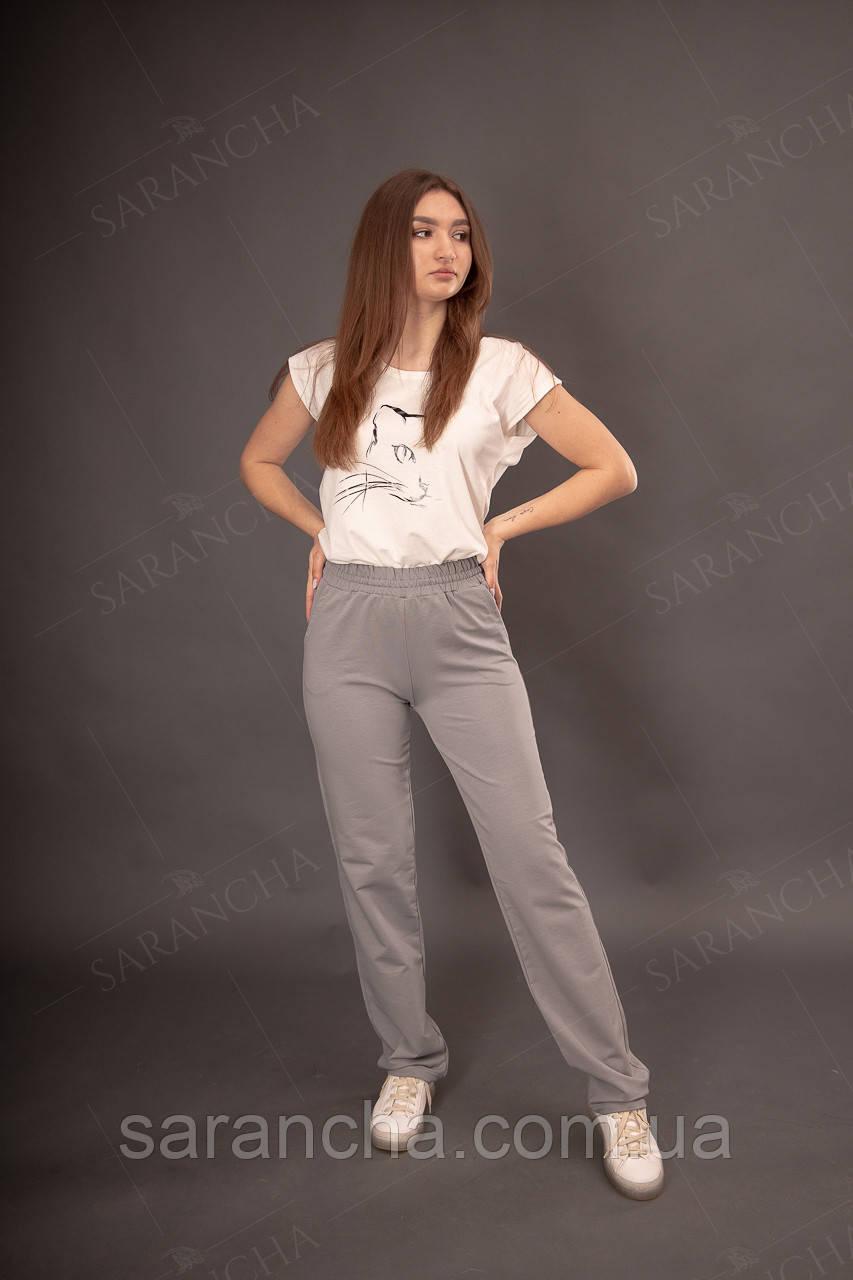 Жіночі брюки широкі спортивні прямі сірі