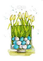 Пасхальная открытка с тюльпанами