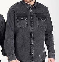 Сорочка джинсова чоловіча на гудзиках чорна   Модна легка куртка джинсовці виробництво Туреччина