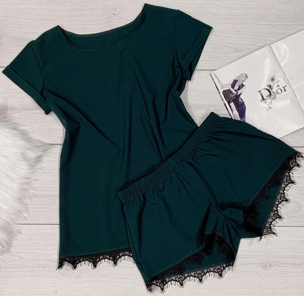 Стильный комплект с французским кружевом футболка+шорты.