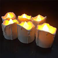 LED свічка 724 з мерехтливим полум'ям на батарейці жива свічка тепле світло бежева 37х50 мм