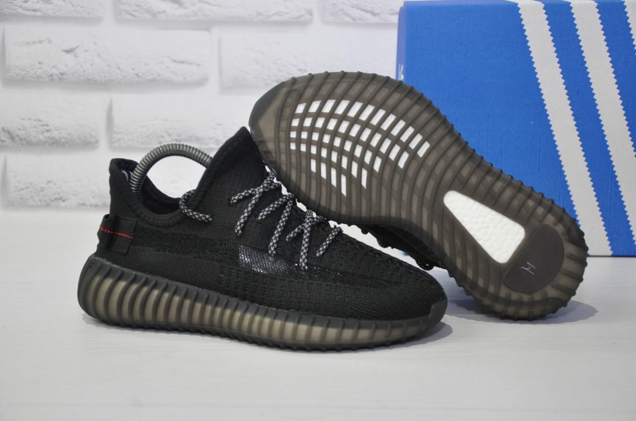 Кроссовки черные для бега и повседневной носки Yeezy Boost