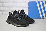 Кроссовки черные для бега и повседневной носки Yeezy Boost, фото 5