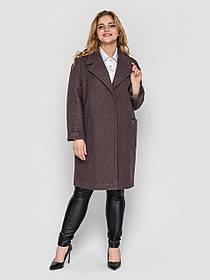 Демисезонное однобортное серое пальто женское из кашемира, больших размеров от 48 до 58