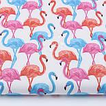 Лоскут ткани с высокими розовыми и голубыми фламинго №1055а, размер 15*135, фото 2