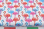 Лоскут ткани с высокими розовыми и голубыми фламинго №1055а, размер 15*135, фото 3