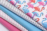 Лоскут ткани с высокими розовыми и голубыми фламинго №1055а, размер 15*135, фото 4