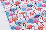 Лоскут ткани с высокими розовыми и голубыми фламинго №1055а, размер 15*135, фото 5