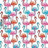 Лоскут ткани с высокими розовыми и голубыми фламинго №1055а, размер 15*135, фото 8