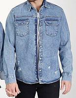Сорочка джинсова чоловіча на гудзиках синя   Модна легка куртка джинсовці виробництво Туреччина