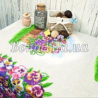 Лляна скатертина р. 120*150 на кухонний стіл N-477