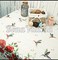 Лляна скатертина р. 120*150 на кухонний стіл N-482