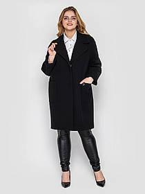 Прямое кашемировое черное пальто женское до колена, больших размеров от 48 до 58