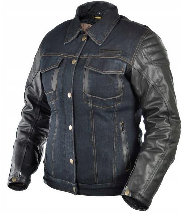 Мотокуртка жіноча Trilobite 962 Symphis Rocker джинс/шкіра синя, M