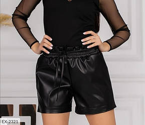 Женские кожаные шорты со шнурком