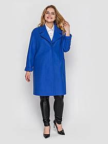 Стильное весеннее пальто женское цвета электрик с поясом, больших размеров от 48 до 58
