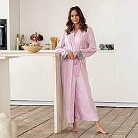 Лиловый шелковый женский халат длинный с кружевом на запах с поясом все размеры
