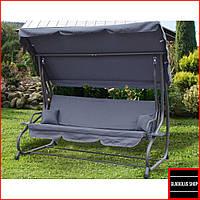 Качели садовые с навесом Bonro Garden (серый) Трехместные До 260 кг Большые Раскладные Для дома и на дачу
