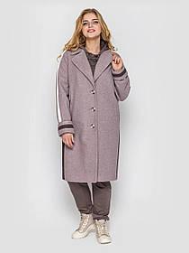 Молодежное полупальто женское прямого кроя  цвет мокко с белыми полосками, больших размеров  52, 54, 56