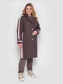 Оригинальное женское кашемировое пальто с лампасами  весна-осень, больших размеров  52, 54, 56