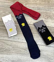 Підліткові колготи бавовна KBS двоколірні з личком киц для дівчат 13 років 6 шт. в уп. мікс із 3х кольорів