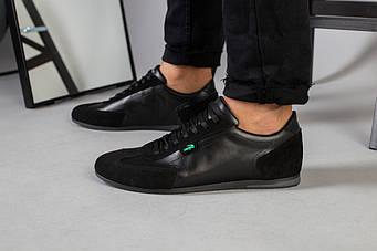 Кроссовки мужские черные кожаные 40