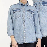 Сорочка джинсова чоловіча на гудзиках блакитна   Модна легка куртка джинсовці виробництво Туреччина