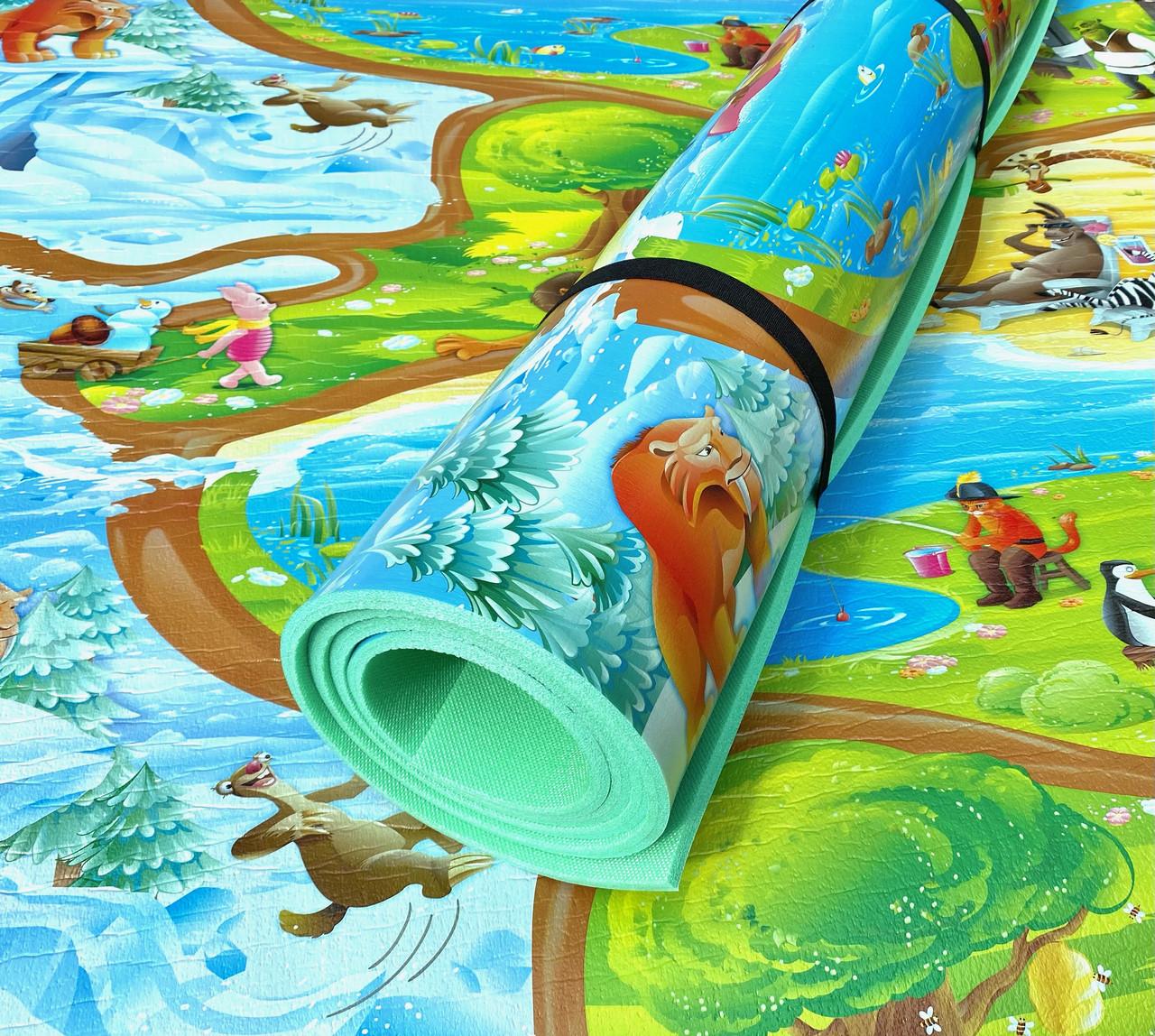 Детский теплый коврик 3000×1200×8мм, «Мадагаскар»