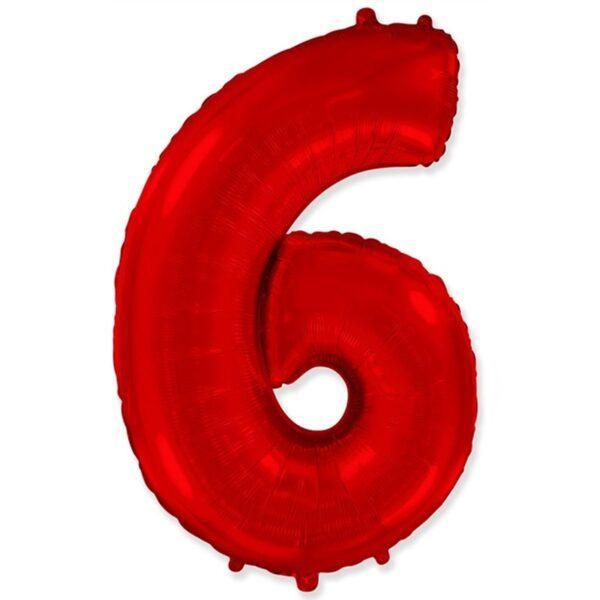 """Фольгована кулька цифра червона """"6"""" 40"""" Flexmetal"""