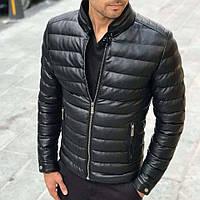 Утепленная мужская кожаная куртка из экокожи черная осень весна | Стильная кожанка производство Турция