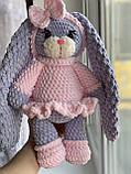 Мягкая вязаная плюшевая игрушка зайчик ручной работы., фото 5