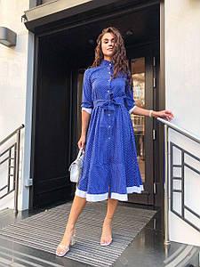 Платье свободного кроя с контрастной отделкой и поясом 42-46 р