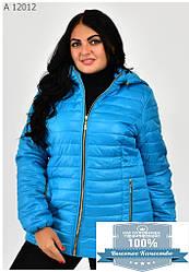 Модная женская куртка с капюшоном большие размеры 54-70