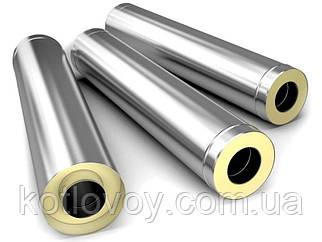 Труба для димоходу з термоізоляцією (сендвіч) AISI 201, 0.3 м, 0.5 мм, Ø110/180, нержавійка в оцинкуванню