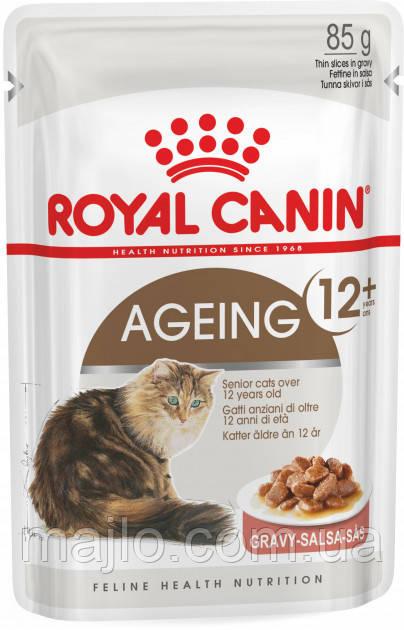 Вологий корм для котів від 12 років Royal Canin Ageing +12 подрібнені шматочки в соусі 85 г (9003579310151)