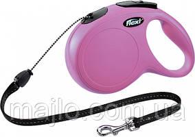 Поводок-рулетка Flexi New Classic до 20 кг 8 м Розовый