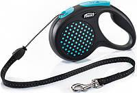 Поводок-рулетка Flexi Design до 20 кг 5 м Синій горошок
