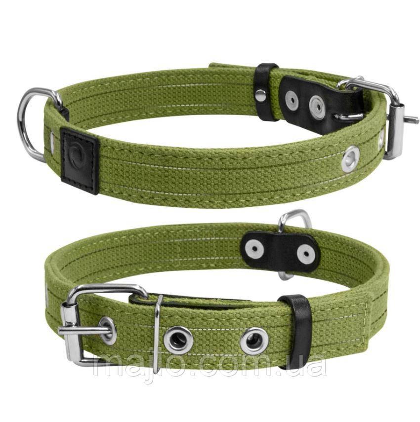6136 Collar Ошийник Брезент подвійний х/б тасьма з світловідбиваючої ниткою (20мм*31-41см)
