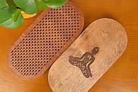 """Доски Садху овальная для стояния на гвоздях, с гравировкой """"Лотос"""" для начинающих с шагом 1 см, подарок йогу"""