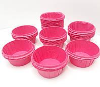 Бумажная одноразовая форма-капсула для кексов розового цвета с усиленным бортом 55х35