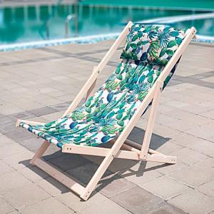 Шезлонг складаний для пляжу і басейну Зелені Кактуси/Шезлонг розкладний дерев'яний/Шезлонг пляжний лежак