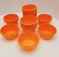 Бумажная одноразовая форма-капсула с усиленным бортом оранжевого цвета 55х35