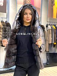 Куртка двухсторонняя с соболем внутри 42-48р